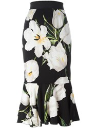 Dolce And Gabbana Tulip Print Peplum Skirt Black