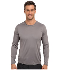 Hot Chillys Peach Solid Crewneck Charcoal Men's Long Sleeve Pullover Gray