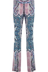 Etro Paisley Print Crepe Tapered Pants Blue