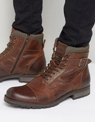 Jack And Jones Albany Warm Leather Boots Brown