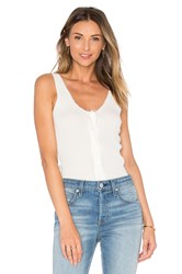Frame Denim Le Lace Rib Tank White