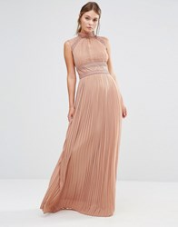 Tfnc Wedding Pleated Maxi Dress With Lace Detail Taupe Beige