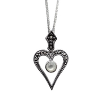 Goldmajor Marcasite And Mother Of Pearl Pendant