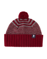 Psycho Bunny Craig Striped Pompom Hat Bordeaux Cliff Gray