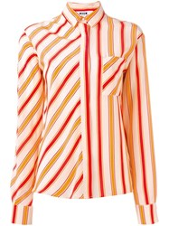 Msgm Striped Shirt Yellow And Orange