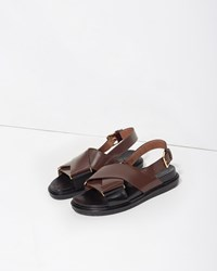 Marni Criss Cross Leather Fussbett Sandal Chocolate And Coal