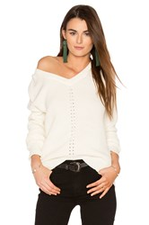 Michael Stars Exposed Shoulder Sweater White