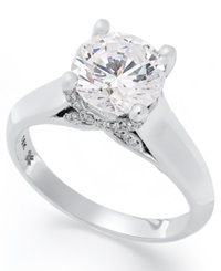 X3 Certified Diamond Solitaire Engagement Ring In 18K White Gold 2 Ct. T.W.
