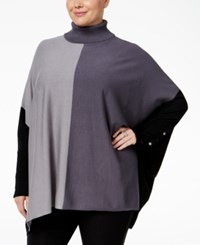 Alfani Plus Size Colorblock Turtleneck Poncho Sweater Only At Macy's Color Block Grey