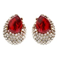 Ben Amun Maharaji Crystal Button Earrings Red