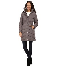 Cole Haan Single Breasted Belted Down Coat Carbon Women's Coat Gray