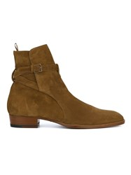 Saint Laurent Suede Chelsea Boots Yellow And Orange
