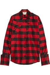 Ronald Van Der Kemp Checked Silk Shantung Shirt Red