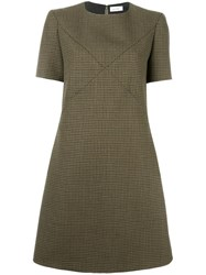 Courreges Crossover Stitching Dress Green