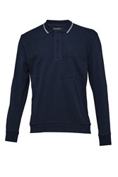 French Connection Men's Piston Long Sleeve Polo Shirt Blue