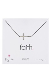 Dogeared Faith Sideways Cross Necklace Metallic
