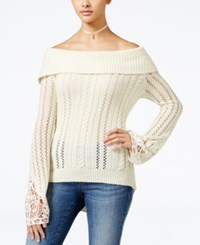 American Rag Off The Shoulder Pointelle Sweater Only At Macy's Egret