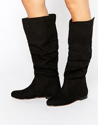 Asos Collaborate Knee High Flat Slouch Boots Black
