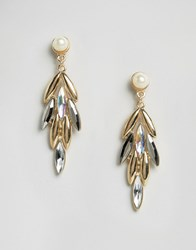 Paper Dolls Drop Jewelled Earrings Gold