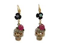Betsey Johnson Betsey Vampire Crystal Skull Earrings Crystal Pink Earring Gold
