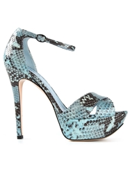 Studio Pollini Snakeskin Effect Sandals Blue