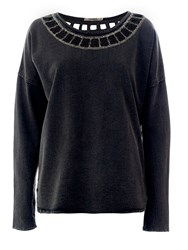 Red Soul Sweatshirt With A Studd Embellished Neck Grey