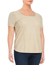 Calvin Klein Plus Perforated Faux Suede Tee Beige