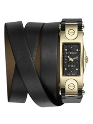 Givenchy Seven Goldtone Stainless Steel And Leather Wrap Strap Watch