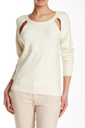 Tracy Reese Sparkle Embellished Cutout Pullover Beige