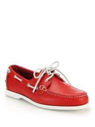 Ralph Lauren Telford Leather Boat Shoes Red