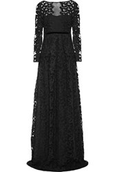 Burberry Embroidered Cotton Blend Tulle Gown Black