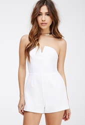 Forever 21 Notched Strapless Romper White
