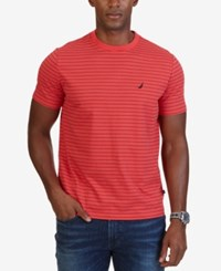 Nautica Men's Striped Crew Neck T Shirt Rose Coral