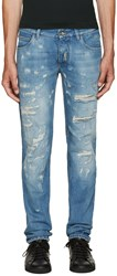 Dolce And Gabbana Blue Embroidered Distressed Jeans