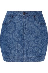 Sibling Printed Denim Mini Skirt Mid Denim