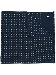 Polo Ralph Lauren Polka Dot Logo Embroidered Scarf Blue