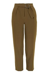 Topshop Buckle Belted Peg Trousers Khaki