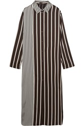 Joseph Hetty Striped Satin Shirt Dress Black Gray