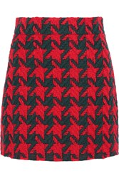 Gucci Houndstooth Wool Blend Mini Skirt Red