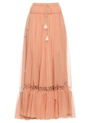 Chloe Silk Crepon Drawstring Maxi Skirt Light Pink