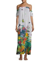 Milly Aruba Floral Print Silk Maxi Coverup Dress Multi