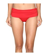 Lauren Ralph Lauren Beach Club Solids Wide Shirred Banded Hipster Bottom Red Women's Swimwear