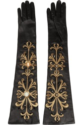 Dolce And Gabbana Embellished Leather Gloves