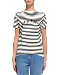 Whistles Striped Graphic Print Tee Blue Multi