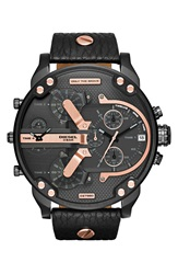 Diesel 'Mr. Daddy 2.0' Chronograph Leather Strap Watch 57Mm Black Rose Gold