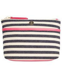 Tommy Hilfiger Canvas Print Cosmetics Case Navy Blue