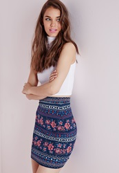 Missguided Aztec Print Jersey Mini Skirt Multi