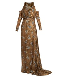 Preen Ahrens Printed Satin Devore Dress Black Gold