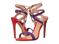 Schutz Delmano Purple Cherry Peach Women's Dress Sandals Multi