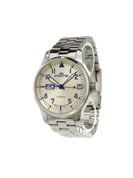 Fortis 'F 43 Flieger Big Date Ltd.' Analog Watch Stainless Steel